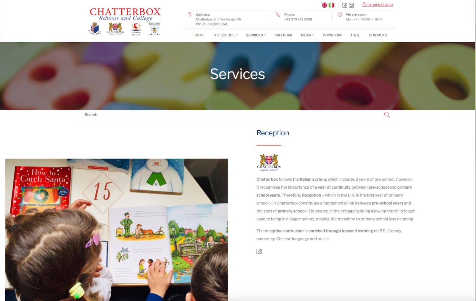 chatterbox schools and college servizi